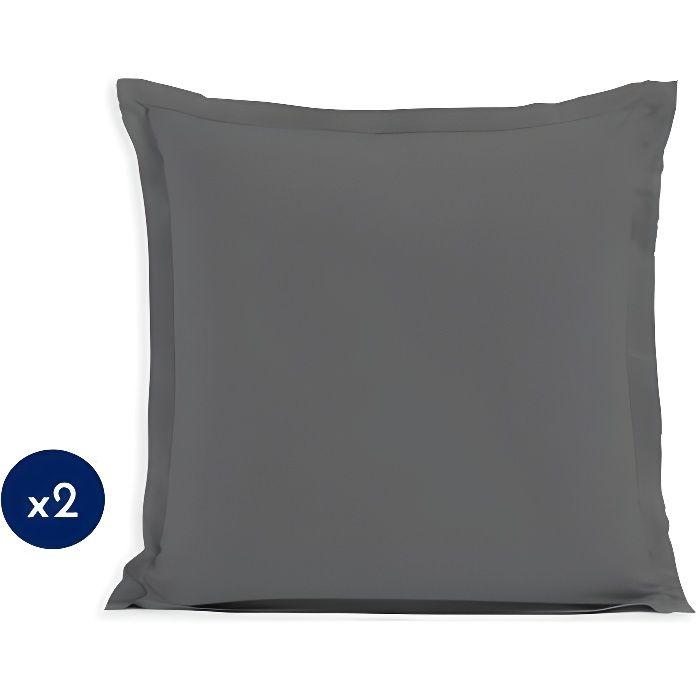 Lot de 2 Taies d'oreillers 100% Coton 63x63 cm gris foncé