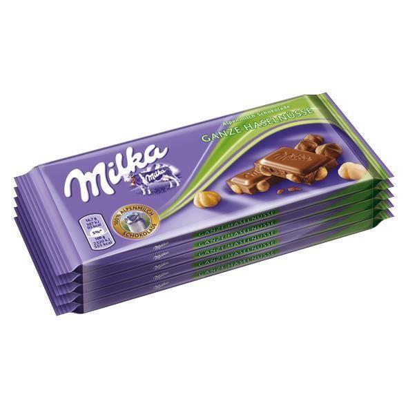 Milka Noisettes entières Chocolat 5 x 100g