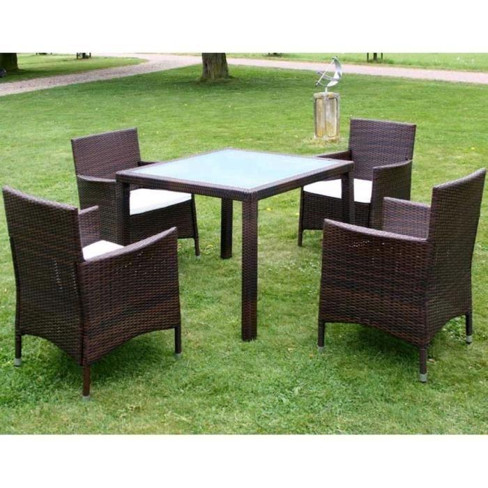 Luxueux Magnifique Moderne-Mobilier à dîner-Salon jardin 5 pcs et coussins Résine tressée Marron