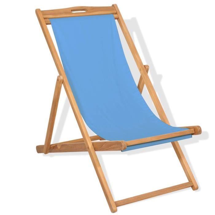 Chaise longue Chaise de terrasse Bain de soleil Teck 56 x 105 x 96 cm Bleu