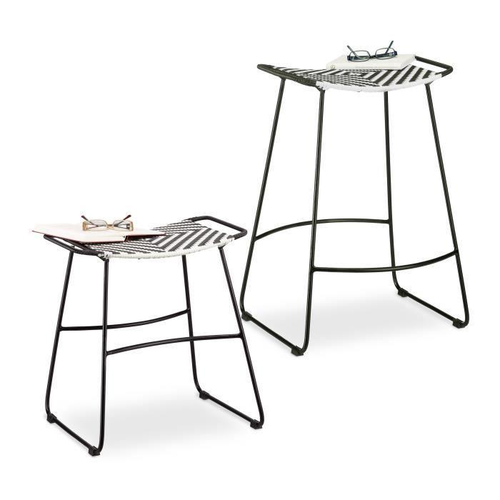 Relaxdays Tabouret poly rotin tabouret noir et blanc pouf jardin, extérieur tabouret salle de bain, assise siège - 4052025962340