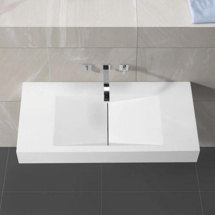 Lavabo Suspendu Rectangulaire Blanc Mat, 100x48 cm, Composite, Graphic