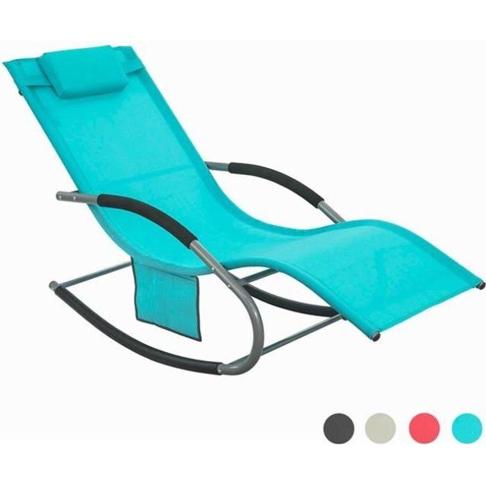 SoBuy® OGS28-HB Fauteuil à bascule Chaise longue Transat de jardin Bain de soleil avec repose-pieds et 1 pochette latérale - Tur...