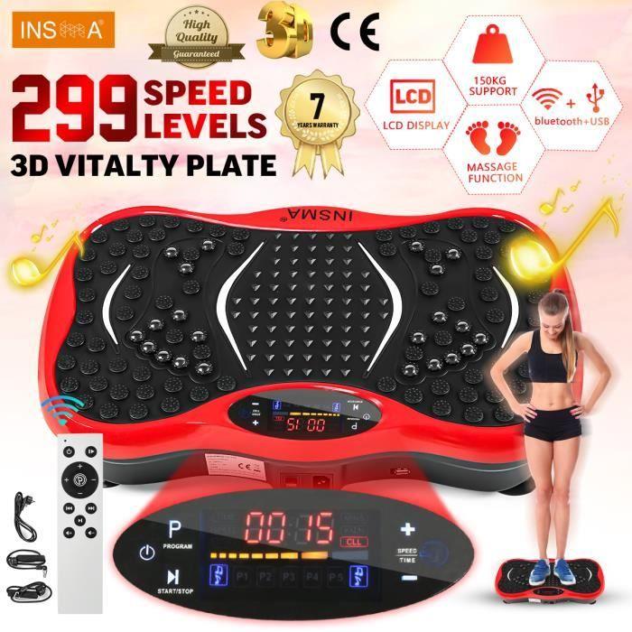 INSMA Plateforme vibrante oscillante Fitness Plaque de vibration 1-299 Vitesse avec Résistance bande Télécommande Bluetooth ROUGE