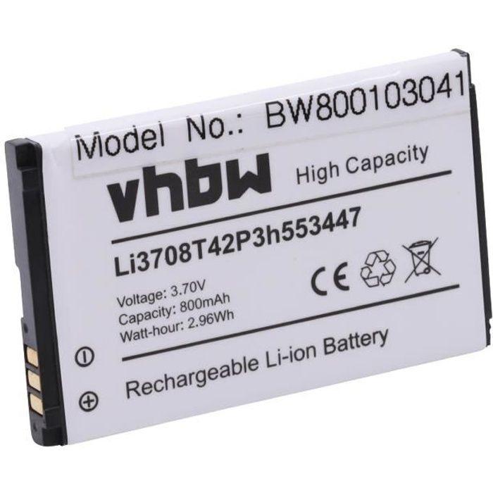 vhbw Batterie compatible avec ZTE Agent, C70, C78, C88, E520, Essenze, F160 smartphone (800mAh, 3,7V, Li-ion)