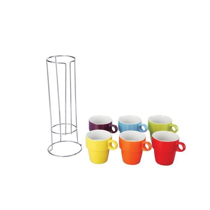 Couleurs 6 pièce Set de tasses avec socle 220ml tasses thé tasses à café