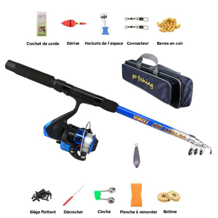 CANNE À PÊCHE Canne à pêche avec moulinet, Kit de pêche en eau s