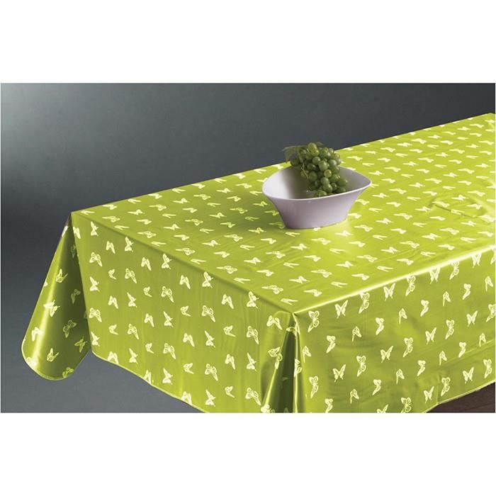 nappes de cuisine nappe ciree papillons vert anis achat vente nappe de table cdiscount. Black Bedroom Furniture Sets. Home Design Ideas