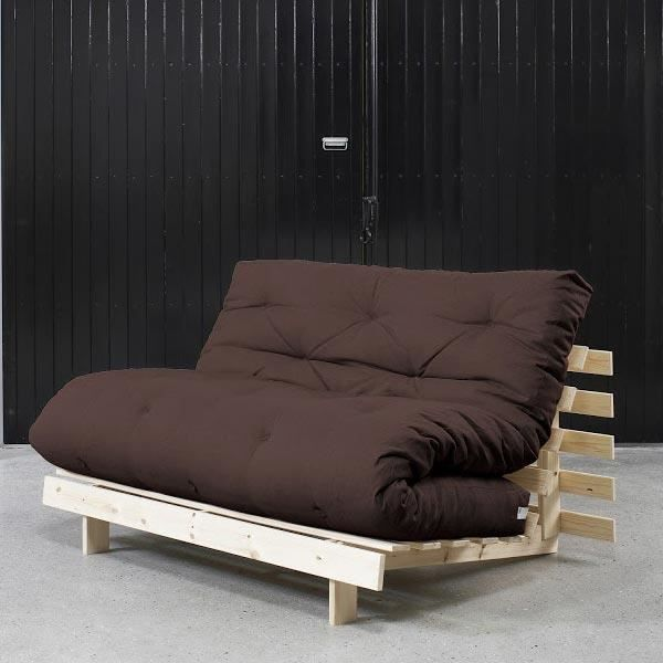 convertible roots 140 naturel futon marron achat vente canap sofa divan cdiscount. Black Bedroom Furniture Sets. Home Design Ideas