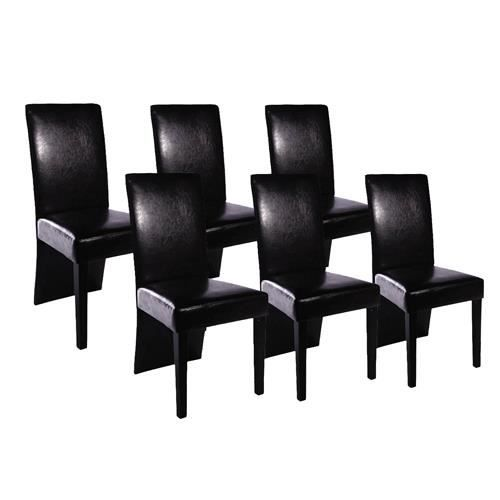 lot de 6 chaises de salle manger noir achat vente chaise poly thyl ne bois cdiscount. Black Bedroom Furniture Sets. Home Design Ideas