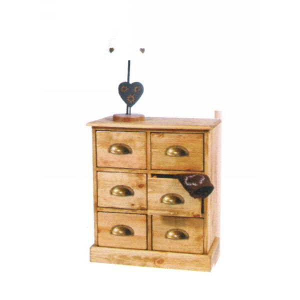 Commode 6 tiroirs pin massif achat vente commode de for Meuble 6 tiroirs