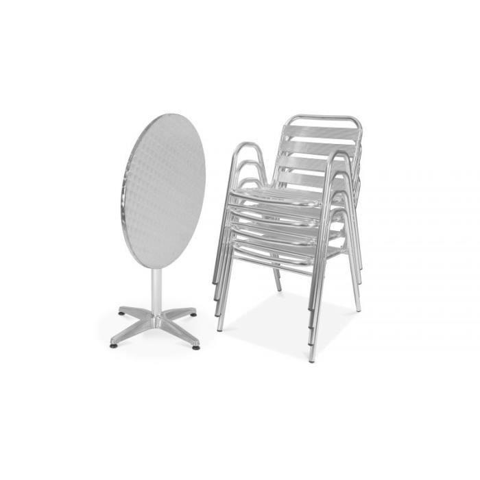Salon de jardin Table et chaises terrasse bistrot 4 places ronde en alu
