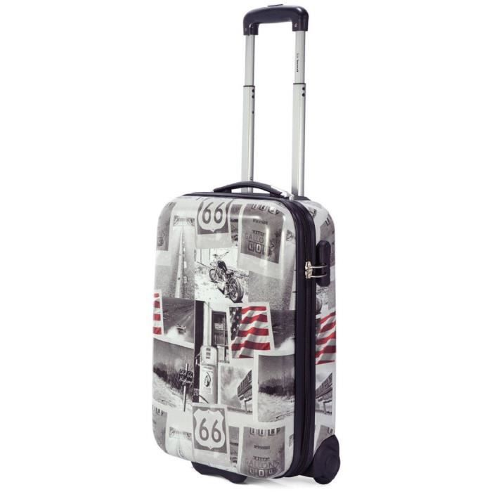 valise cabine 2 roulettes motif moto route 66 gris gris achat vente valise bagage. Black Bedroom Furniture Sets. Home Design Ideas