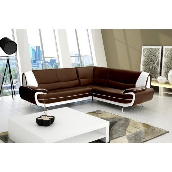 canap d 39 angle moderne jana chocolat et blanc a achat vente canap sofa divan cuir. Black Bedroom Furniture Sets. Home Design Ideas