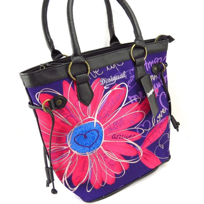 sac cr ateur desigual violet rose achat vente sac cr ateur desigual vio cdiscount. Black Bedroom Furniture Sets. Home Design Ideas