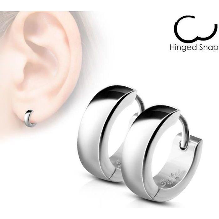 boucle d'oreille hommes anneau argent