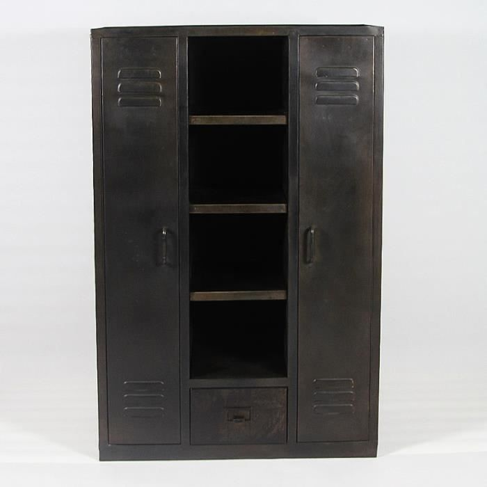 armoire metal black achat vente armoire de chambre armoire metal black cdiscount. Black Bedroom Furniture Sets. Home Design Ideas