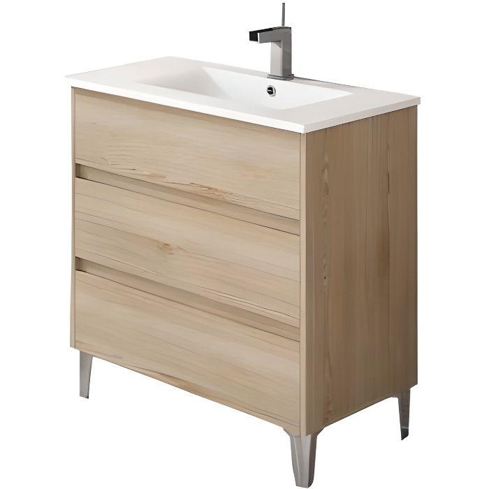 Meuble sous vasque de salle de bain TENERIFE 80cm bois clair
