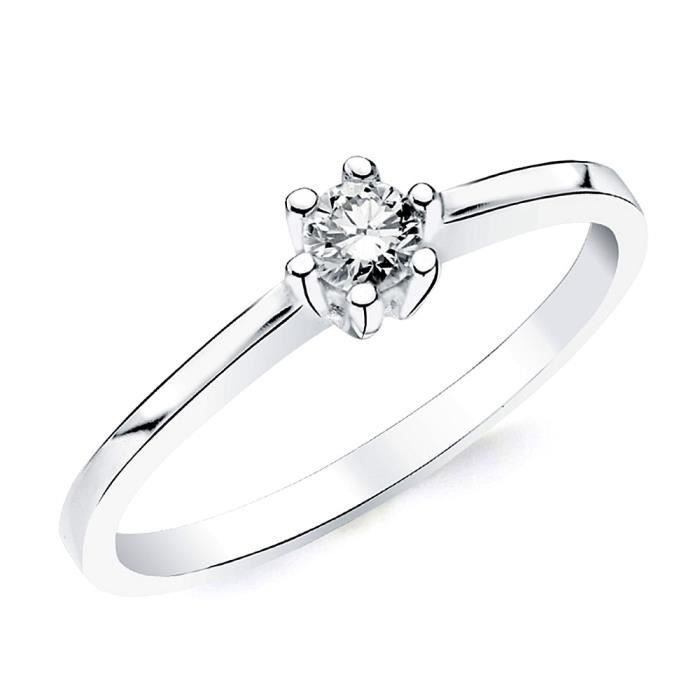 Bague solitaire Or blanc 18 0,150ct 1 diamant brillant. [AB2825] - Taille: 57