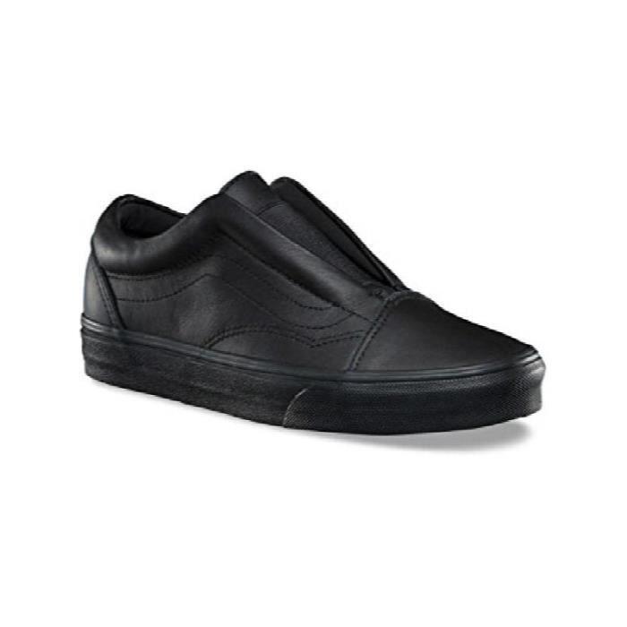 VANS Old Skool Laceless en cuir noir classique Chaussures de skate ...
