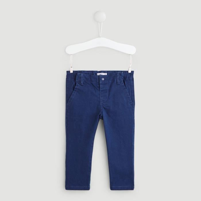 PANTALON Pantalon slack 98% Coton, 2% Elasthanne BLEU 30°C