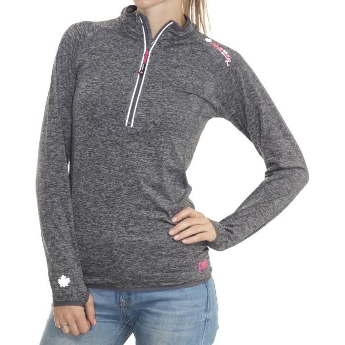 878cfbf3367f0 NORTHVALLEY Sweat Demi-Zip Polarshell Prisca Femme Gris Clair Chiné ...
