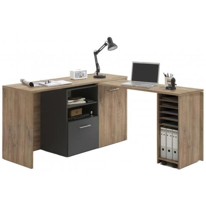 bureau d 39 angle r tractable avec rangements jill achat vente bureau bureau d 39 angle. Black Bedroom Furniture Sets. Home Design Ideas