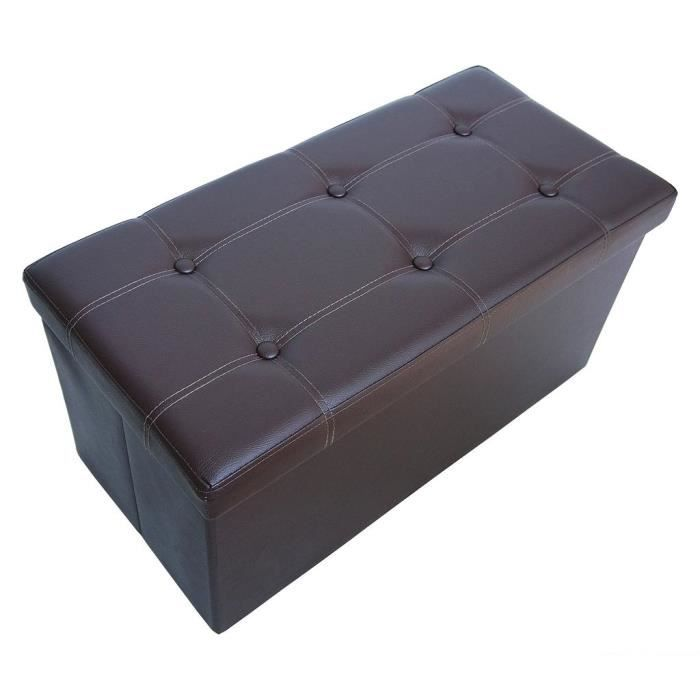 pouf coffre de rangement pliable marron 76x38x38cm achat. Black Bedroom Furniture Sets. Home Design Ideas
