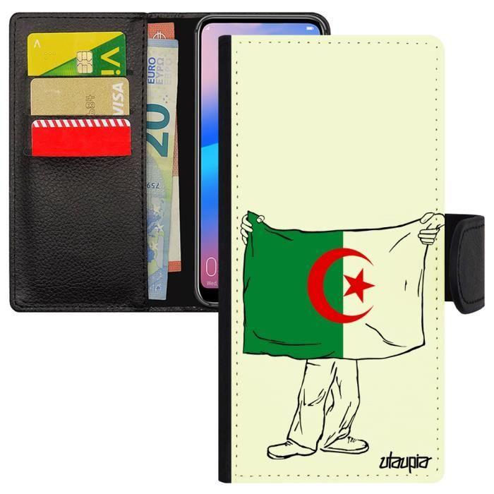 Coque Samsung Note 9 simili cuir à rabat porte cartes drapeau algerie algerien CAN foot antichoc jeux olympiques galaxy