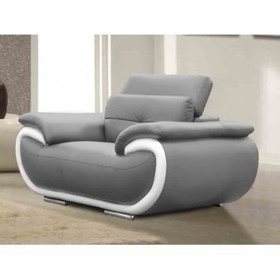 fauteuil en cuir smiley bicolore gris et blanc achat. Black Bedroom Furniture Sets. Home Design Ideas
