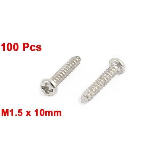 100Pcs M1,5x10mm Acier Inoxydable Vis  Vis Autotaraudeuses À Tête Ronde