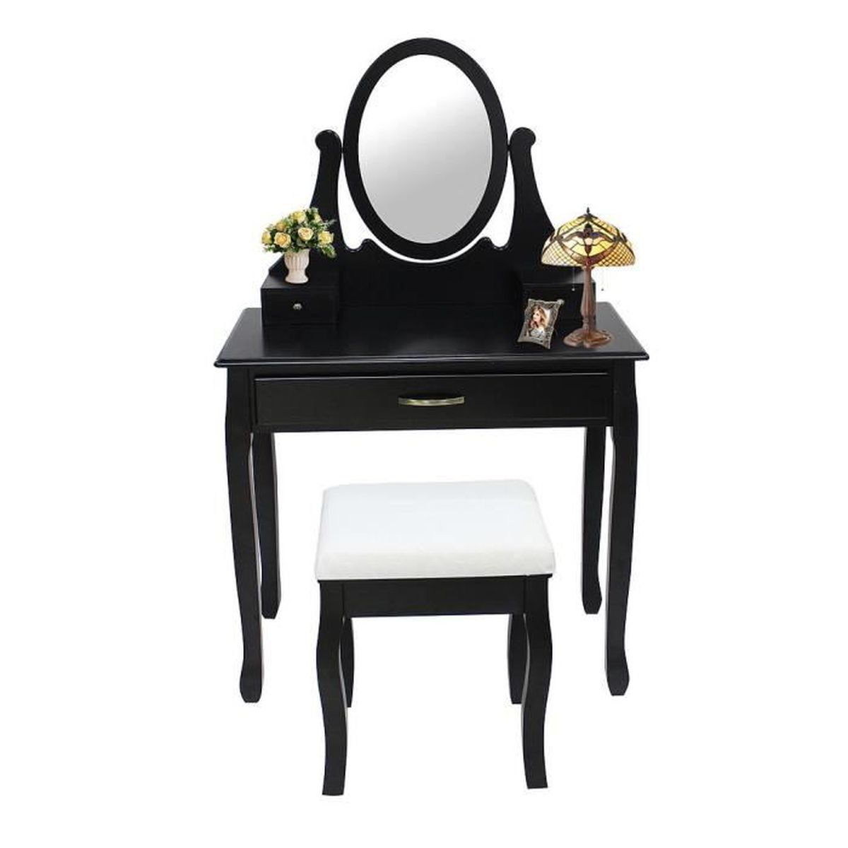 table de maquillage avec miroir et tabouret coiffeuse couleur noire achat vente. Black Bedroom Furniture Sets. Home Design Ideas