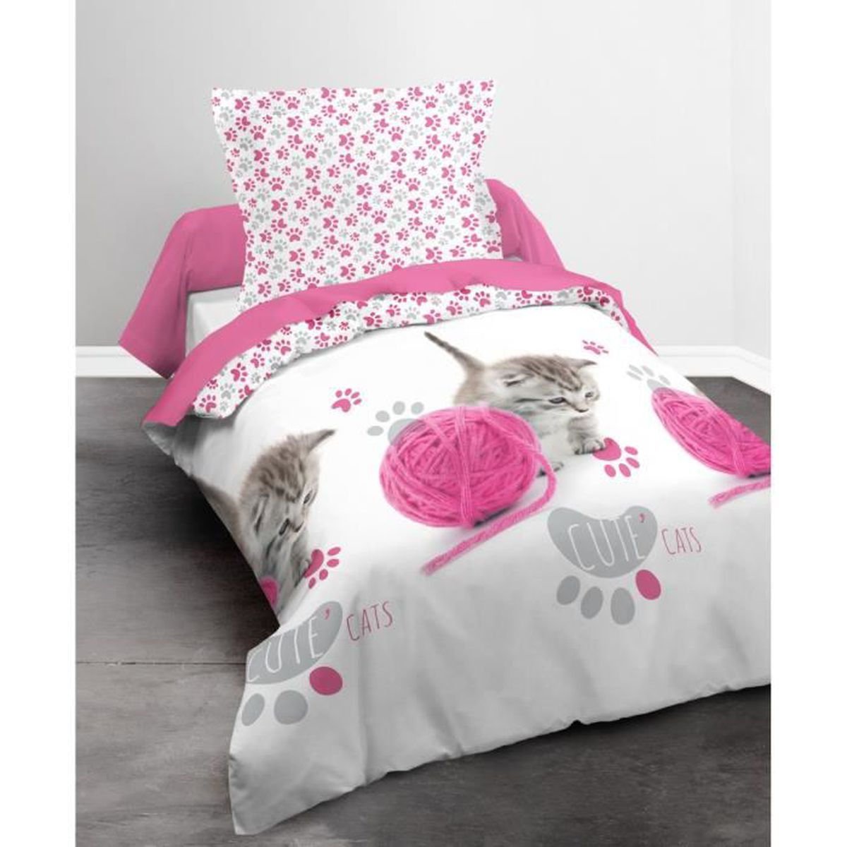 housse de couette cute cat 140x200cm achat vente. Black Bedroom Furniture Sets. Home Design Ideas