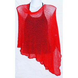 GILET - CARDIGAN PONCHO ROUGE GILET PULL FEMME TAILLE U
