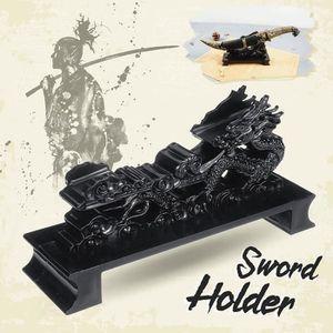 OBJET DÉCORATIF Support de dragon noir samouraï épée Katana Wakiza