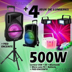 PACK SONO ENCEINTE mobile 500W + 4 JEUX de LUMIERE + MICRO +