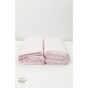 INSERT - LANGE TISSU Lot de 2 Maxi langes 100% coton bio unis Rose Pale