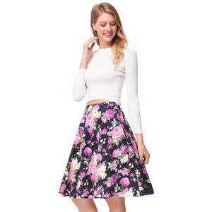 JUPE Jupe Femme Taille Haute Plissée Imprimé Floral Jup