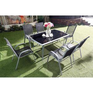 Ensemble table et chaise de jardin Le Grenadin : Salon de jardin table et 6 chaises e
