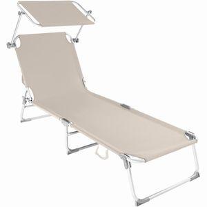 2er set alu pliante transat textile transat transat chaise longue Camping crème anthracite