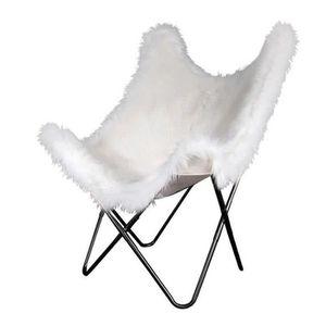 FAUTEUIL BIRDY Fauteuil Papillon - Blanc Imitation Fourrure