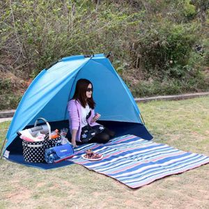 Keumer anti-vent Outdoor pêche plage parasol 1-2 Personnes Tente-Rose