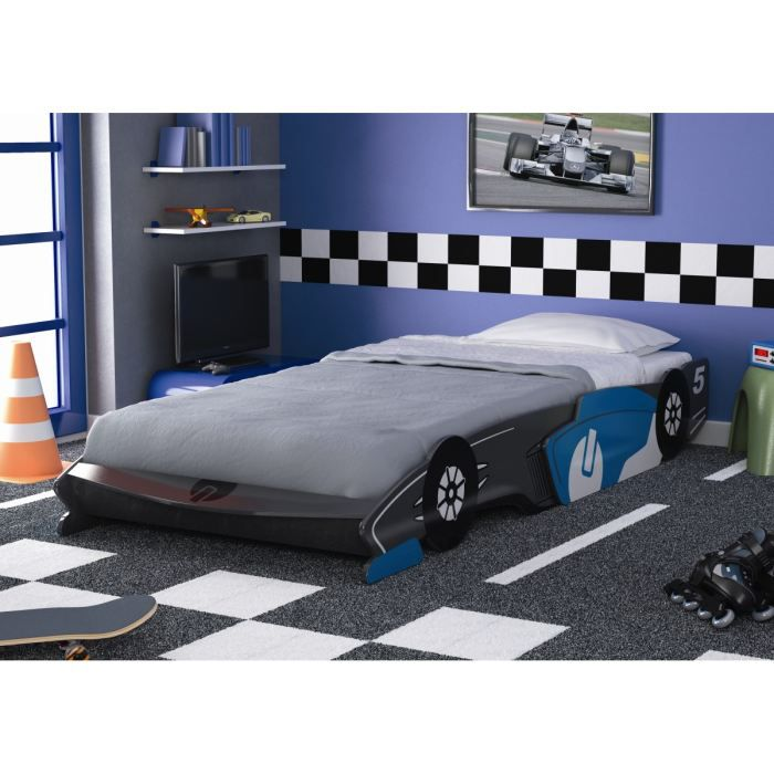 fast lit enfant voiture gris et bleu 90x190 200cm achat vente structure de lit fast lit. Black Bedroom Furniture Sets. Home Design Ideas