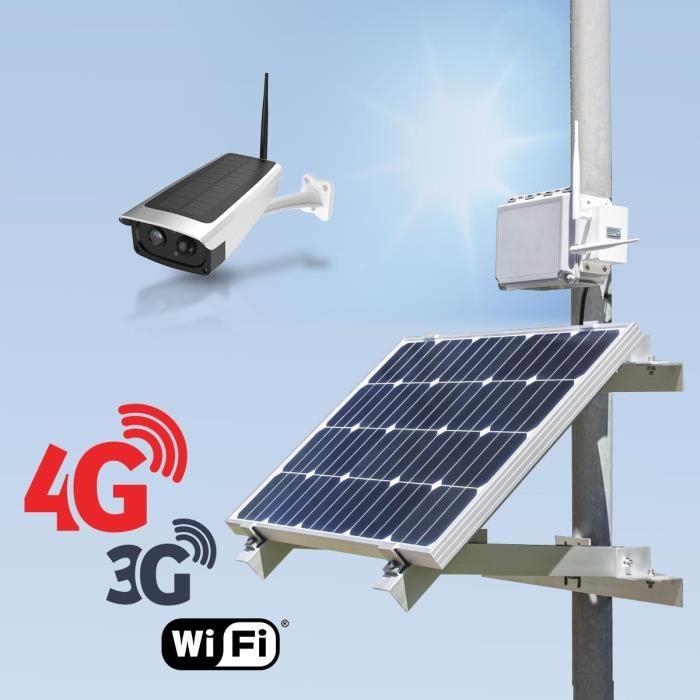 Kit vidéosurveillance 3G 4G autonome solaire avec une caméra solaire Wi-Fi HD 1080P 32 Go