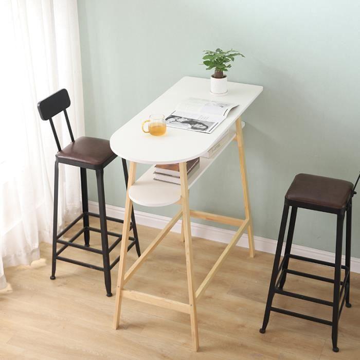 NUO Table Haute de Bar de 2 étages Scandinave en Bois H111cm Plateau peint lisse