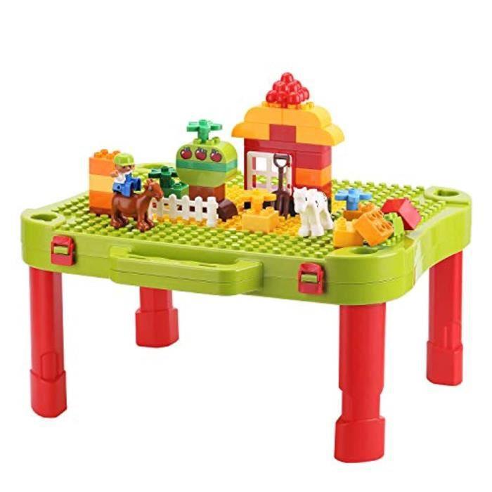 Jeu D'Assemblage A1RKE table d'activités minne 3 en 1, table de construction et d'apprentissage, kit de blocs de construction - bure