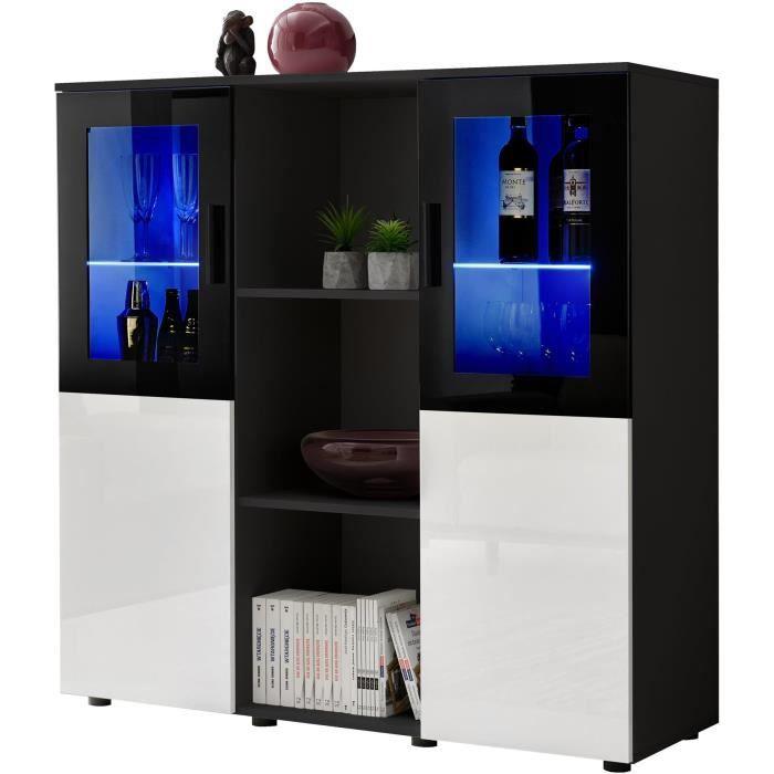 Extreme Furniture Buffet Dream - LED bleues - Blanc Brillant & Noir - Façades en Brillant - L120cm x H125cm x P41cm