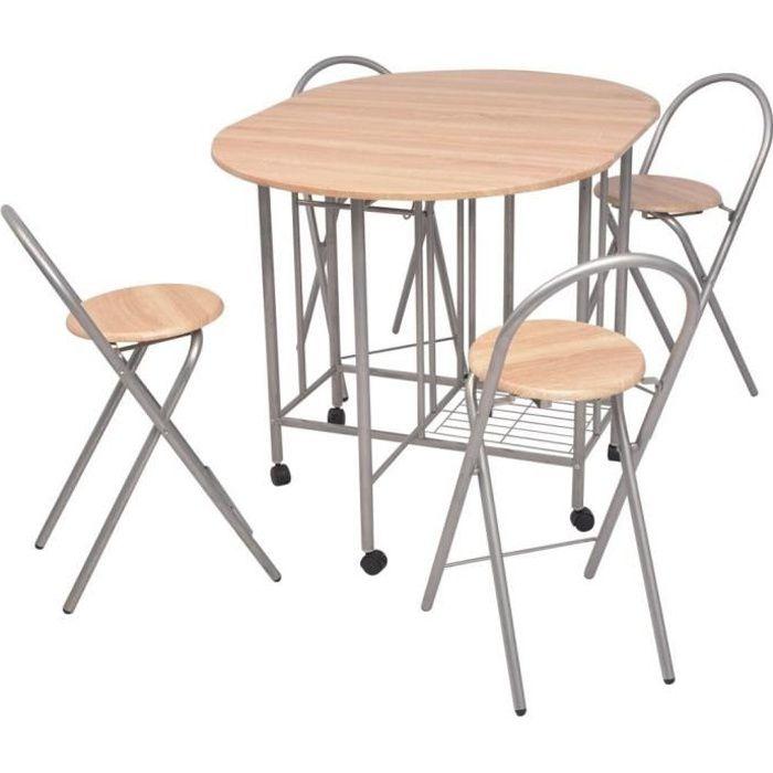 Ensemble dîner table à manger et chaises complet 5 pièces table en bois reception invités beige haute cuisine pliant