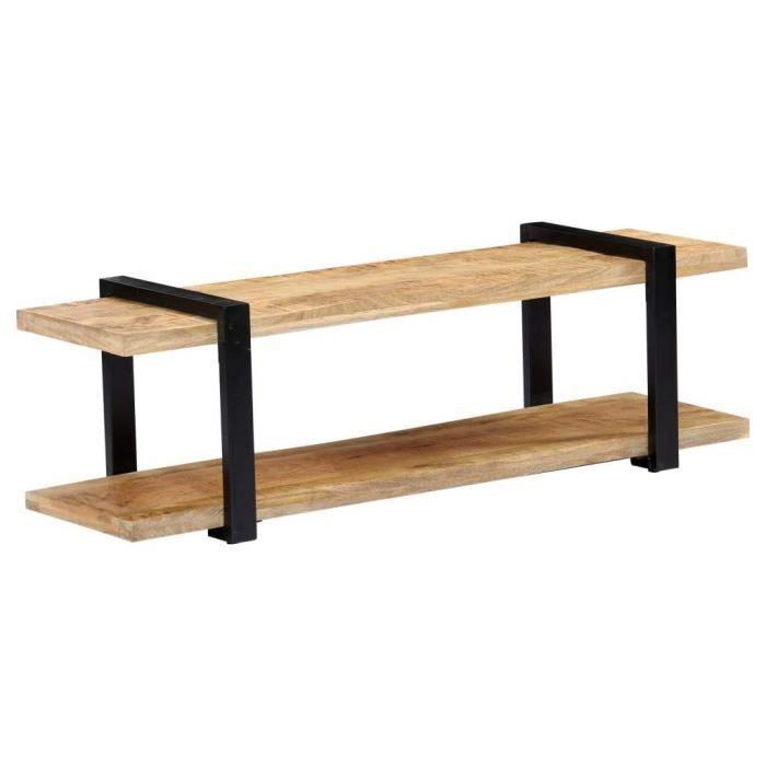 Meuble télé buffet tv télévision design pratique 130 cm bois de manguier massif 2502035
