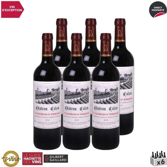 Château Calon Saint-Georges-Saint-Emilion Rouge 2010 - Lot de 6x75cl - Vin AOC Rouge de Bordeaux - Édition 2014 Guide Hachette - Cép